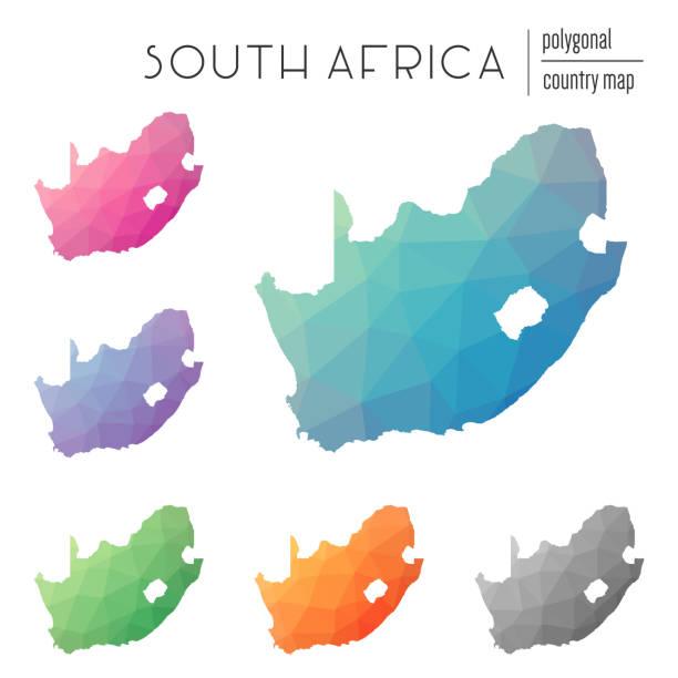 bildbanksillustrationer, clip art samt tecknat material och ikoner med uppsättning av vektor polygonal sydafrika kartor. - south africa