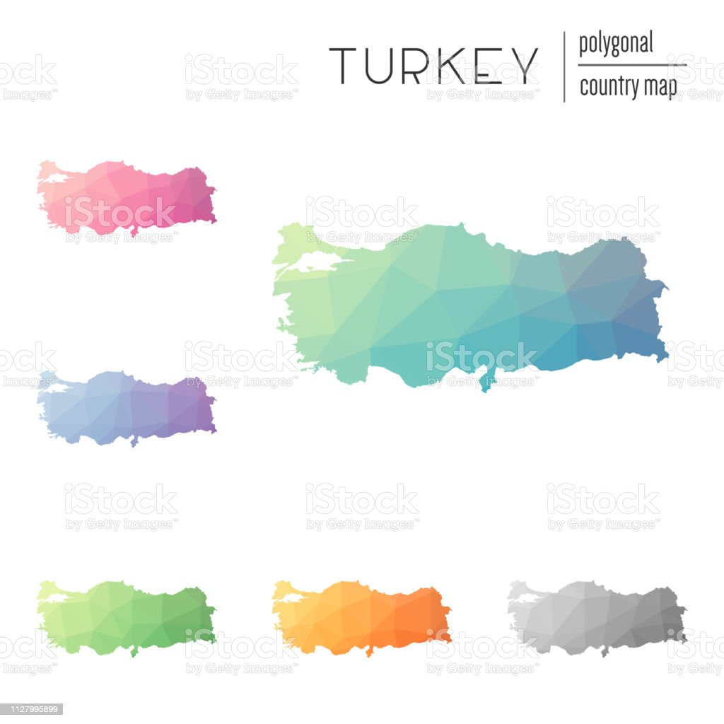 Set Of Vector Polygonal Turkey Maps Stock Vector Art & More Images ...