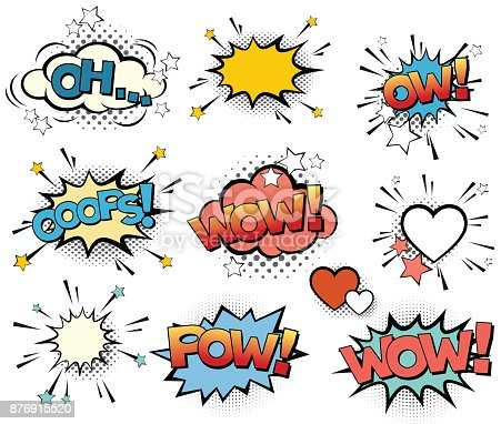 Set of vector pop art signs and comic cartoon bubbles and elements with halftone shadows.