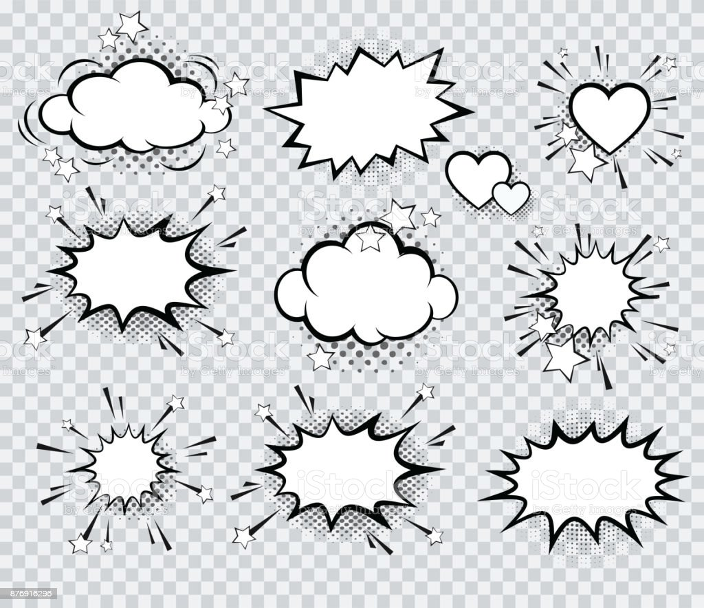 Set of vector pop art signs and comic cartoon bubbles and elements with halftone shadows. vector art illustration