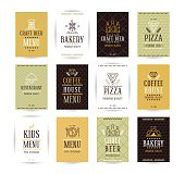 Set of vector poster templates for bakery, cafe, restaurant, pizzeria and craft beer. Templates for flyers, posters and placards