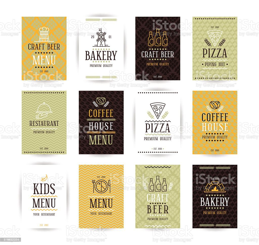 Set of vector poster templates for bakery, cafe, restaurant, piz vector art illustration