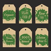 Set of vector price tag label for natural product with grunge hand drawn texture. Fresh healthy organic vegan food.