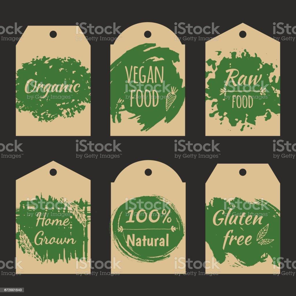 Satz von Vektor-Preisschild-Label für Naturprodukt. – Vektorgrafik