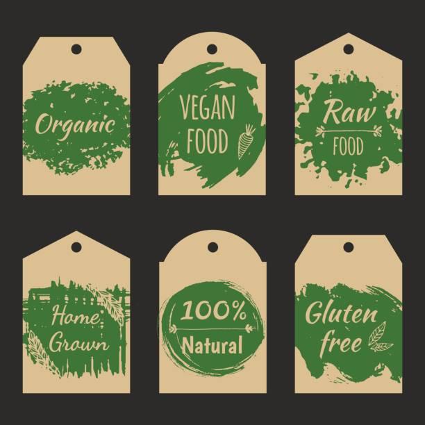 ilustraciones, imágenes clip art, dibujos animados e iconos de stock de conjunto de vector precio etiqueta etiqueta para producto natural. - comida cruda