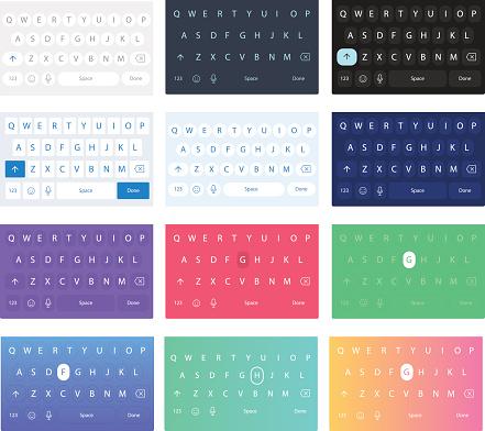 Set of vector qwerty mobile keyboards. Vector keys