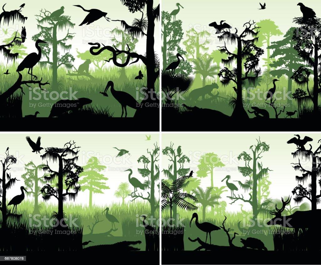 conjunto de silhuetas de zonas húmidas de floresta tropical vetor em modelo de design do sol com animais - ilustração de arte em vetor