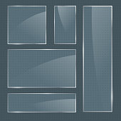 Set of vector realistic glossy square glass frames