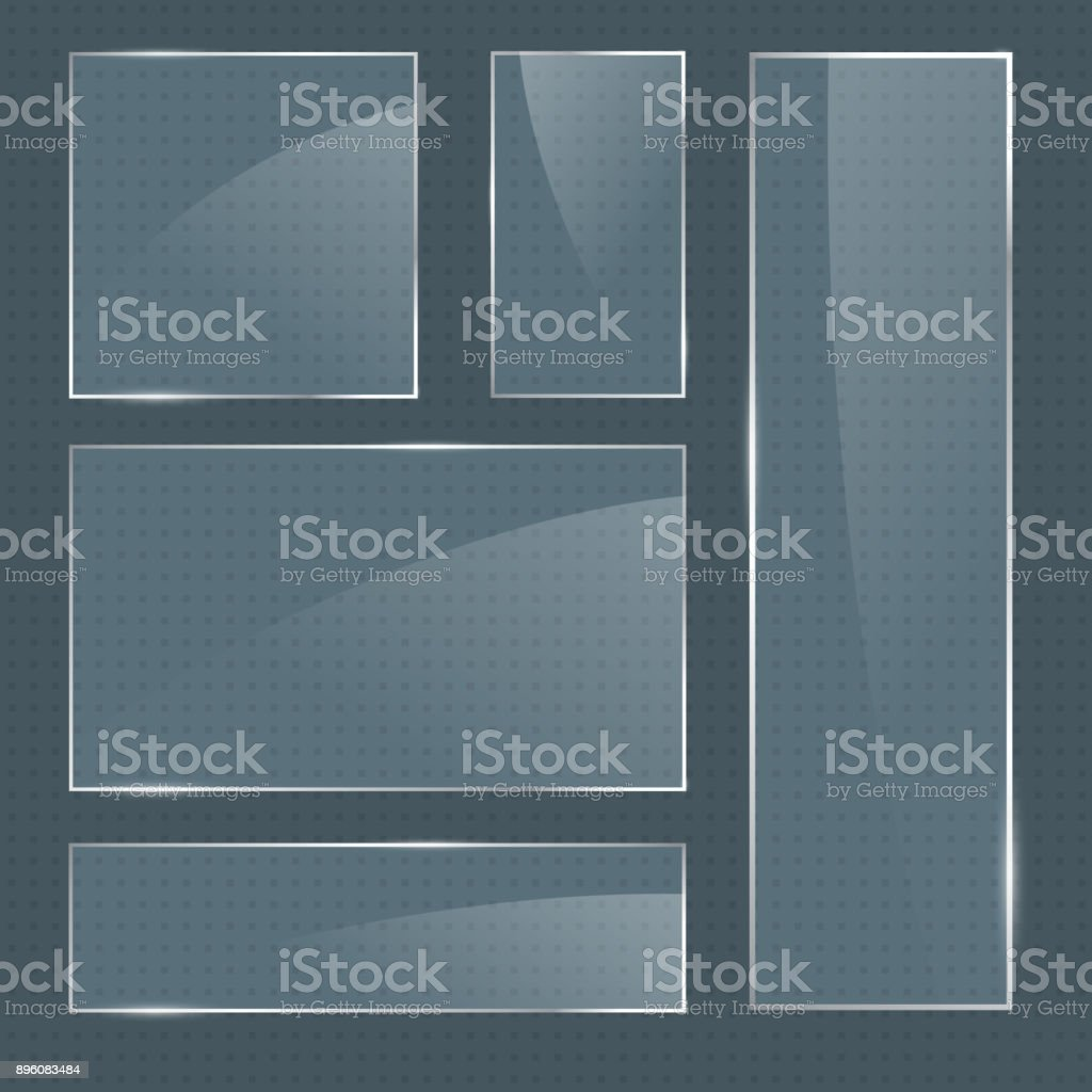 Set of vector realistic glossy square glass frames vector art illustration
