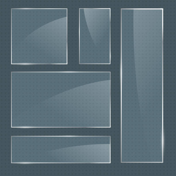 Set of vector realistic glossy square glass frames Set of vector realistic glossy rectangular shape glass frames on transparent background. Square glass elements for banner design, advertising, web, app letterbox format stock illustrations