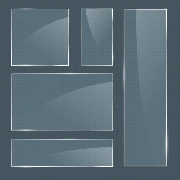 ilustrações de stock, clip art, desenhos animados e ícones de set of vector realistic glossy square glass frames - na superfície