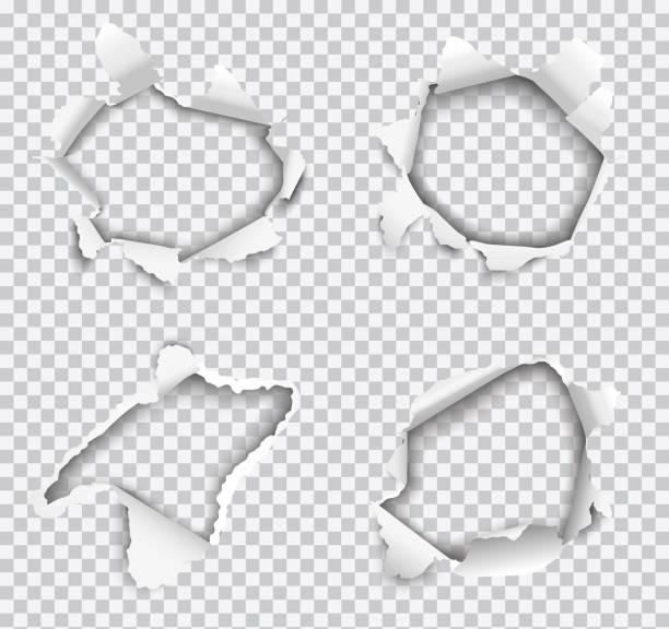 illustrazioni stock, clip art, cartoni animati e icone di tendenza di set of vector realistic holes torn in white paper isolated on transparent background - foro