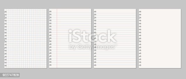 Set of vector realistic illustrations of a torn sheet of paper from a workbook with shadow, isolated on a gray background