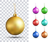Set of vector realistic multicolored Christmas balls
