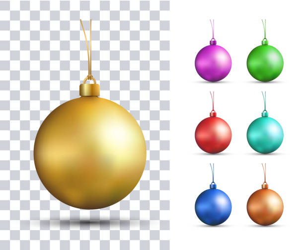 set of vector realistic multicolored christmas balls - blue silhouettes stock illustrations
