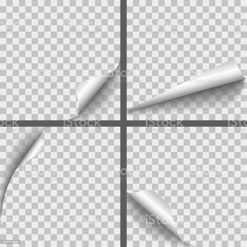 Set of vector realistic paper curled corners with shadows isolated on transparent background royalty-free set of vector realistic paper curled corners with shadows isolated on transparent background stock illustration - download image now