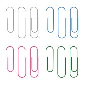 Set of vector realistic paperclips isolated on white background