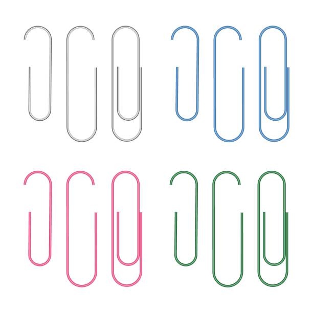 벡터 현실적인 클립 흰색 배경에 고립의 집합 - 종이 클립 stock illustrations