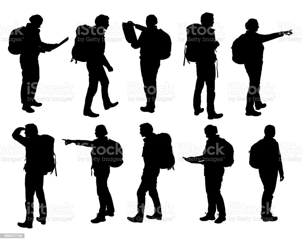 Set of vector realistic silhouettes of man and woman standing, walking and showing hand and map and backpack in different poses - isolated on white background royalty-free set of vector realistic silhouettes of man and woman standing walking and showing hand and map and backpack in different poses isolated on white background stock illustration - download image now