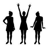 Set of vector realistic silhouettes posing young women in dress isolated on white background