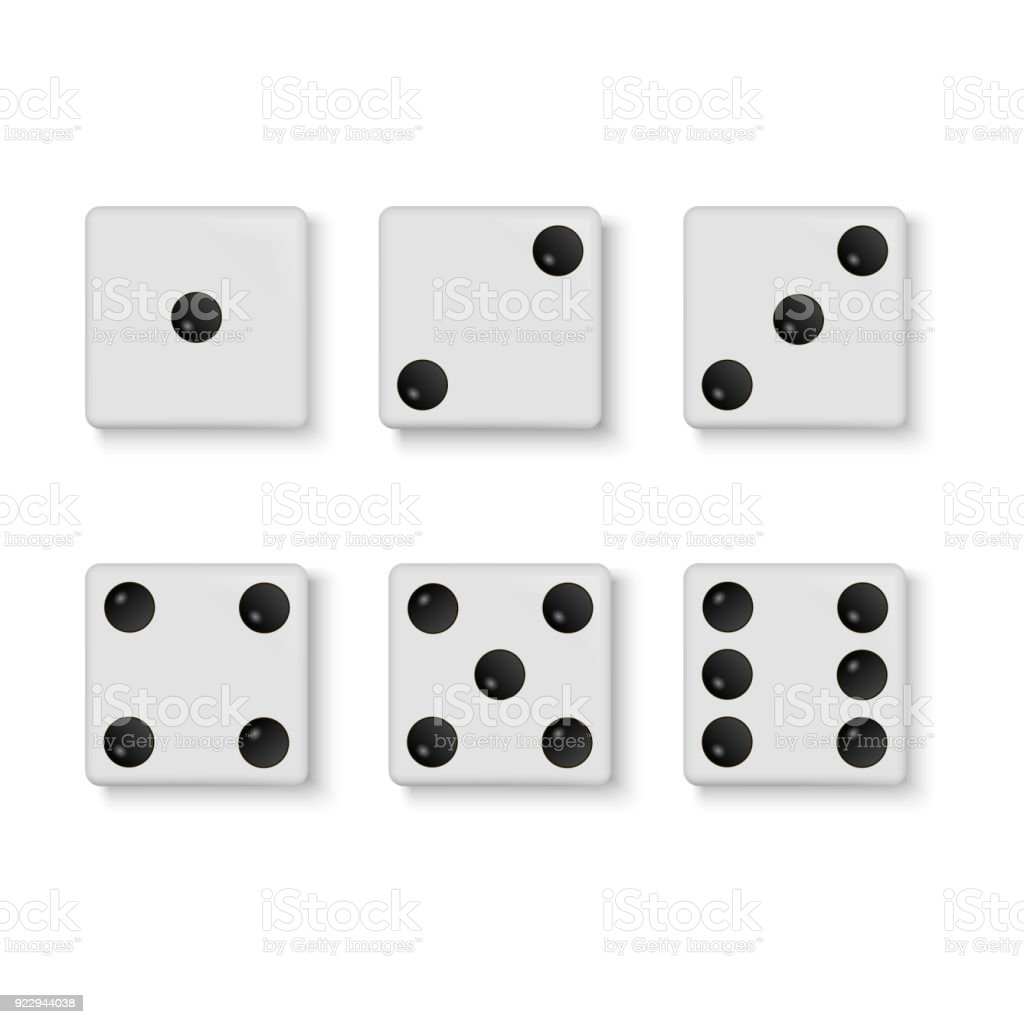 Set of vector realistic white dice isolated on white background