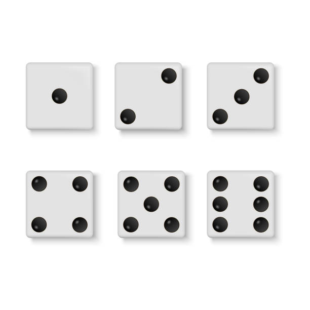 Set of vector realistic white dice isolated on white background Set of vector white dice isolated on white background. Vector. caucasian ethnicity stock illustrations