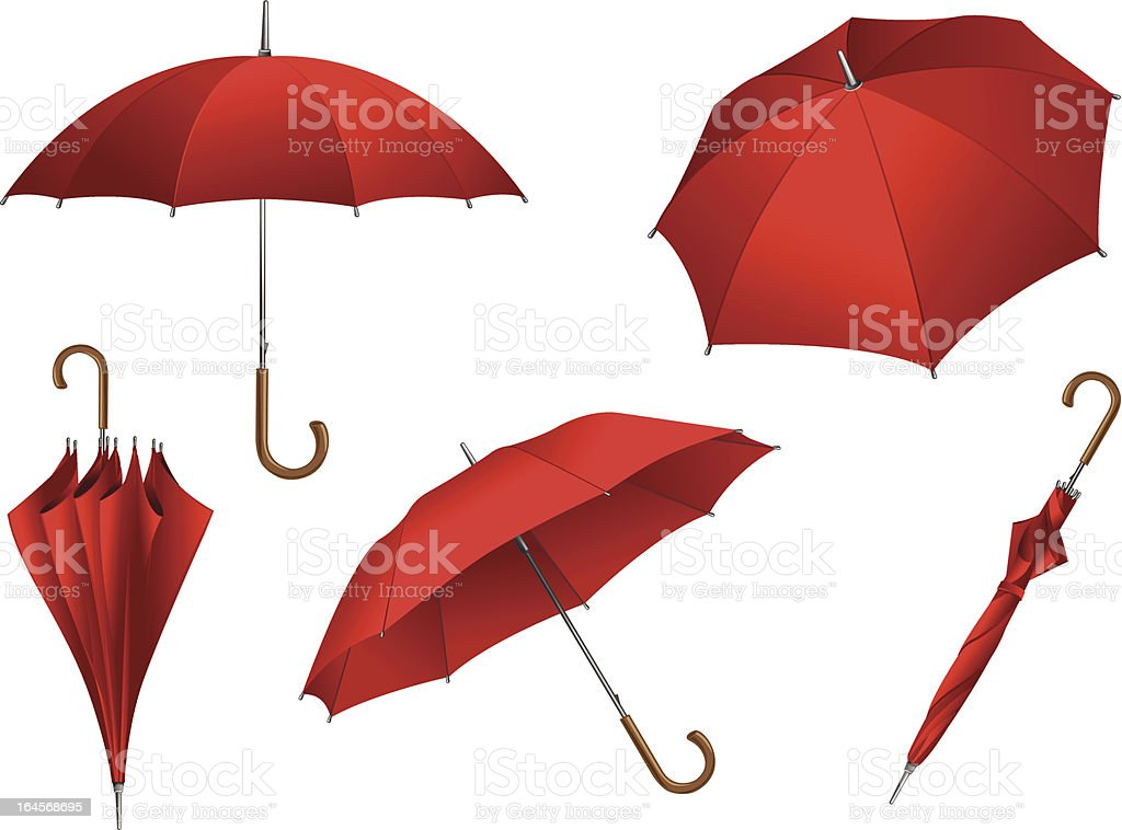 Set of vector red umbrellas vector art illustration