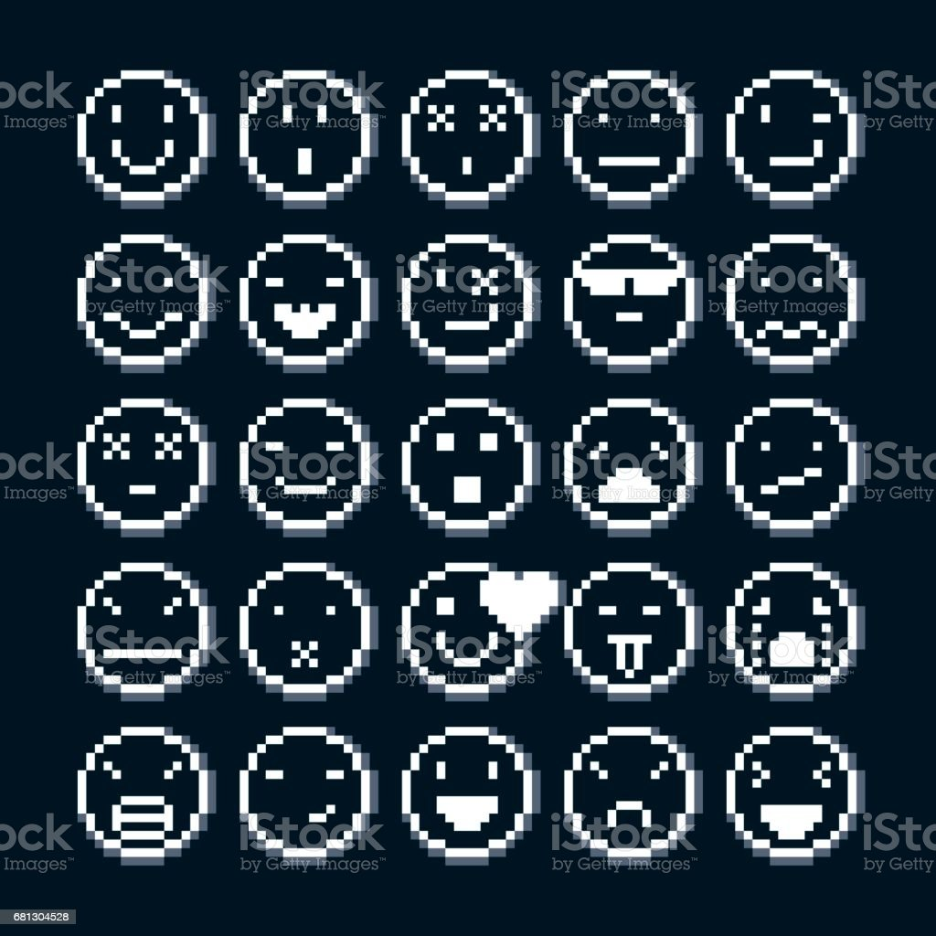 Set Of Vector Retro Signs Made In Pixel Art Style Emotional