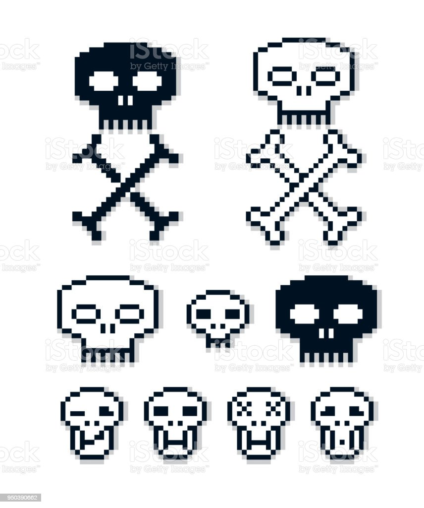 Ensemble De Signes Rétro Vecteur Fait Dans Le Style De Pixel