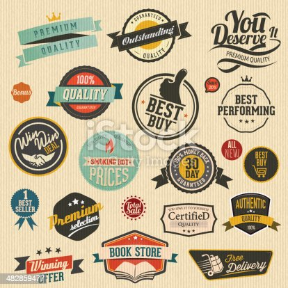 Set of nice retro labels. All elements are separate objects.