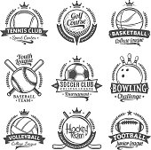 Set of vector retro styled sport emblems and labels