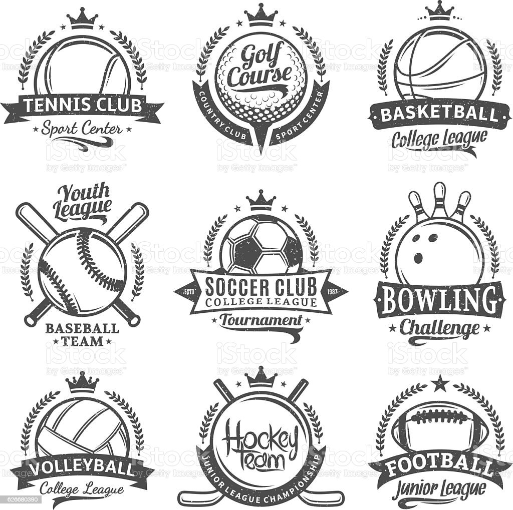 Set of vector retro styled sport emblems and labels vector art illustration
