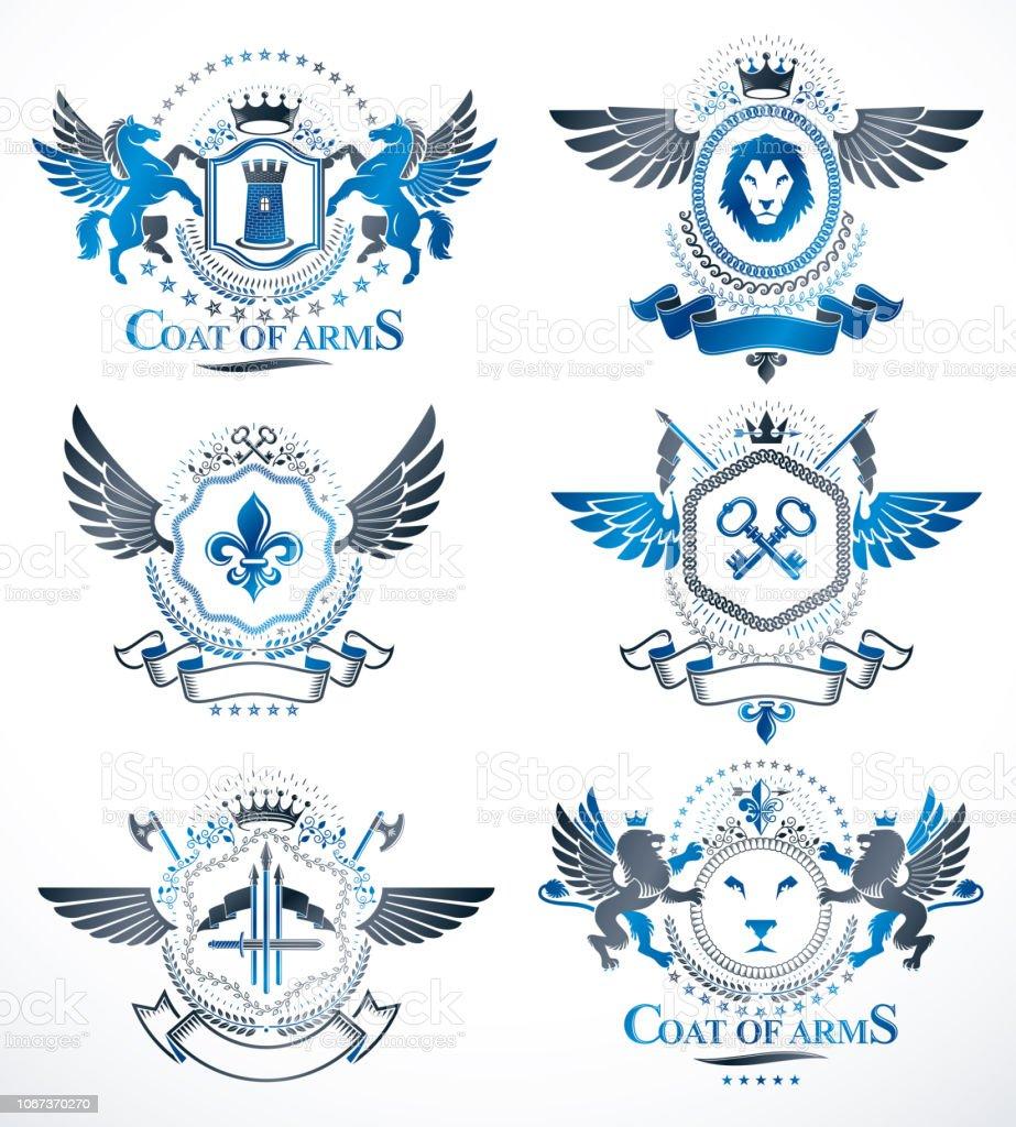 Conjunto de insígnias de vintage retrô vector, criado com elementos de design como castelos medievais, armas, animais selvagens, coroas imperiais. Coleção de armas. - ilustração de arte em vetor