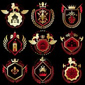 Set of vector retro vintage insignias created with design elements