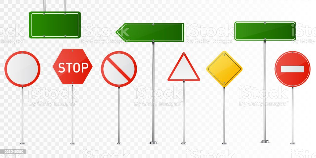 Set of vector road signs isolated on transparent background. - ilustração de arte em vetor