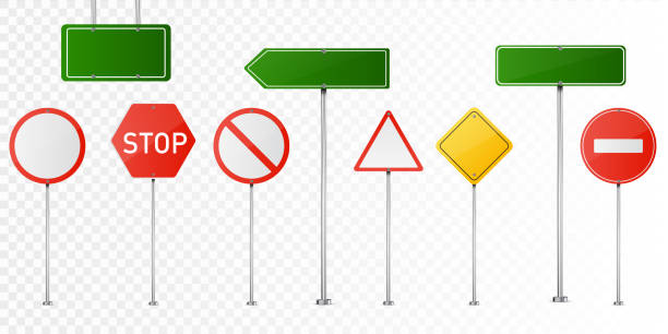 illustrations, cliparts, dessins animés et icônes de set of vector road signs isolated on transparent background. - panneaux de signalisation routière