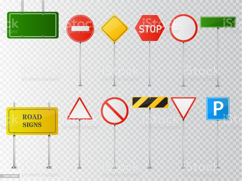 Set of vector road signs isolated on transparent background. vector art illustration