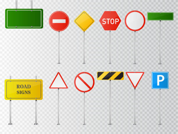 set of vector road signs isolated on transparent background. - 道路標識点のイラスト素材/クリップアート素材/マンガ素材/アイコン素材