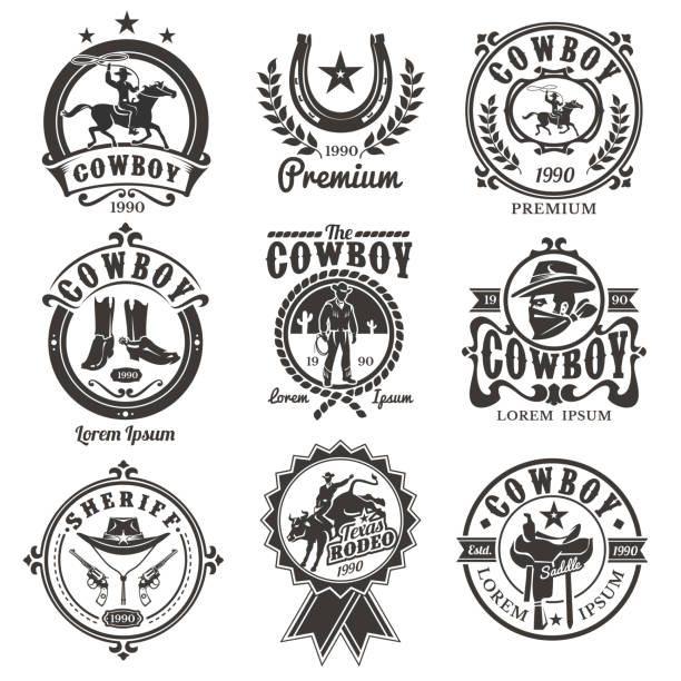 set of vector rodeo logos - rodeo stock illustrations, clip art, cartoons, & icons