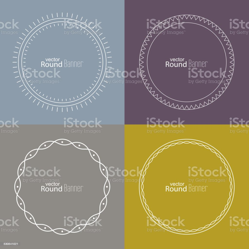 Set of vector round banners vector art illustration