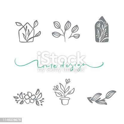 Set of vector scandinavian floral Logo. Hand drawn icon flower organic cosmetic, florist wedding, home decor. Home Design text.