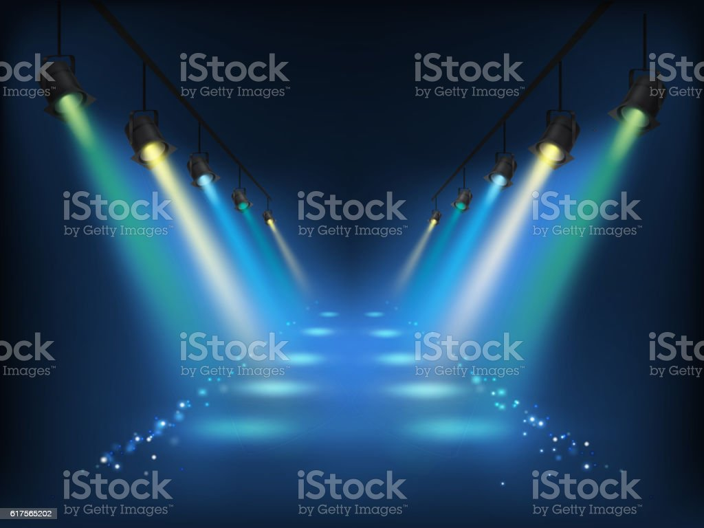 Set of vector scenic spotlights vector art illustration