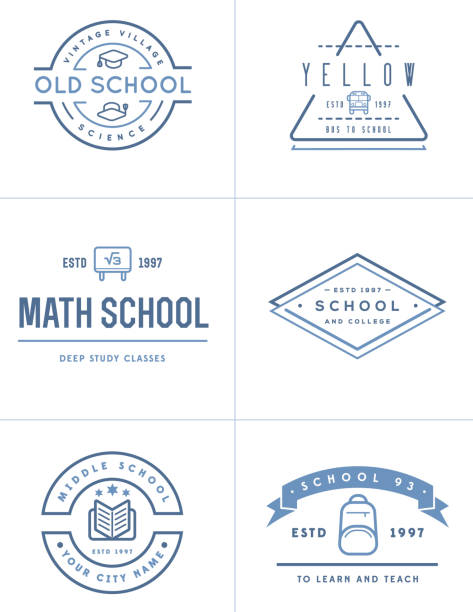 set of vector school or college identity elements can be used as logo or icon in premium quality - university stock illustrations, clip art, cartoons, & icons