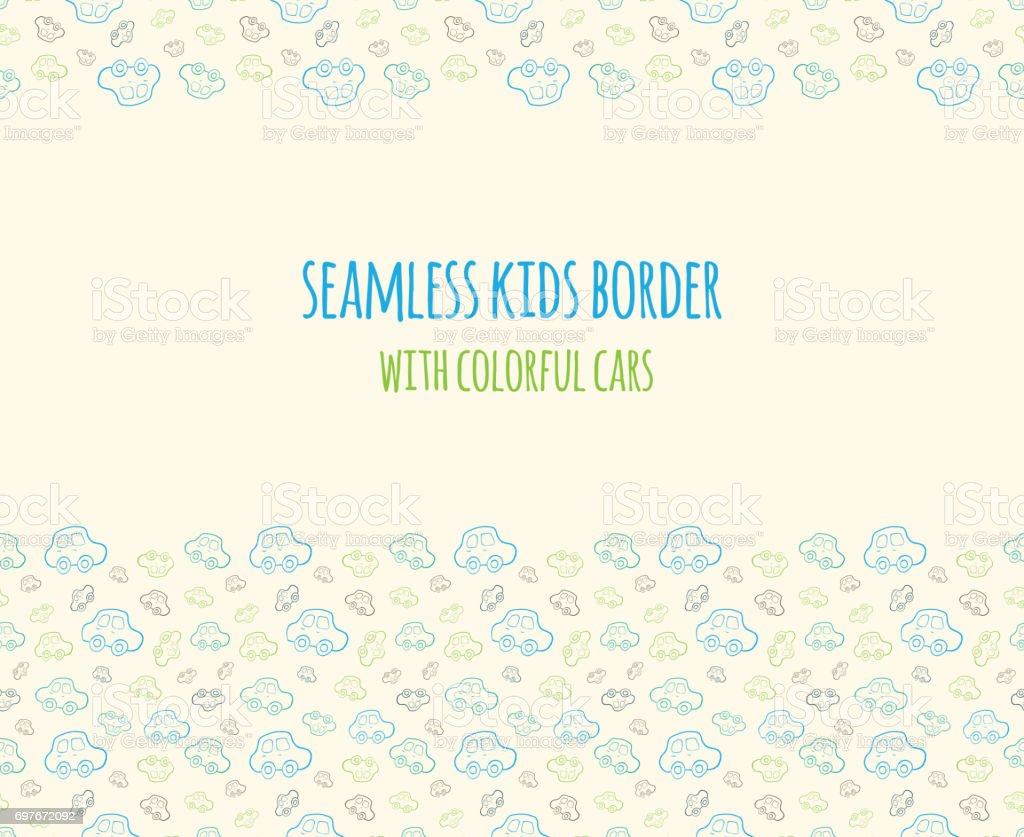Set Of Vector Seamless Baby Boy Border With Hand Drawn Cars Elements For Design Kids