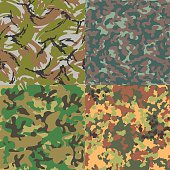 Set of vector seamless camouflage patterns. Four kinds