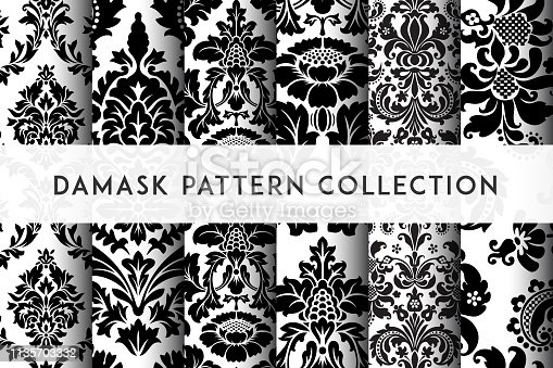 istock Set of Vector seamless damask patterns. Rich ornament, old Damascus style pattern 1135703332