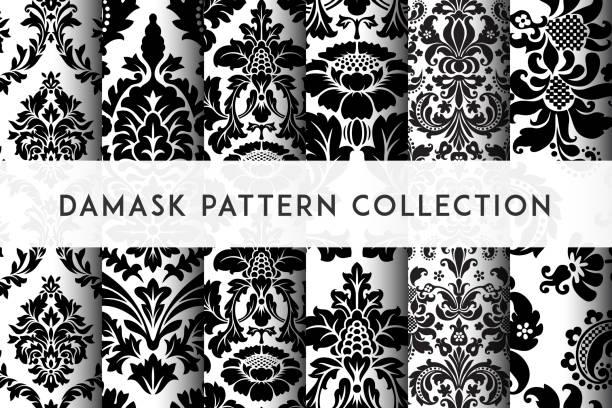 集向量無縫阻尼器模式。豐富的裝飾, 古老的大馬士革風格的圖案 - 錦緞 幅插畫檔、美工圖案、卡通及圖標