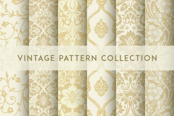ベクトルシームレスダマスクパターンのセット。豊かな装飾、古いダマスカススタイルのパターン - ロココ調点のイラスト素材/クリップアート素材/マンガ素材/アイコン素材
