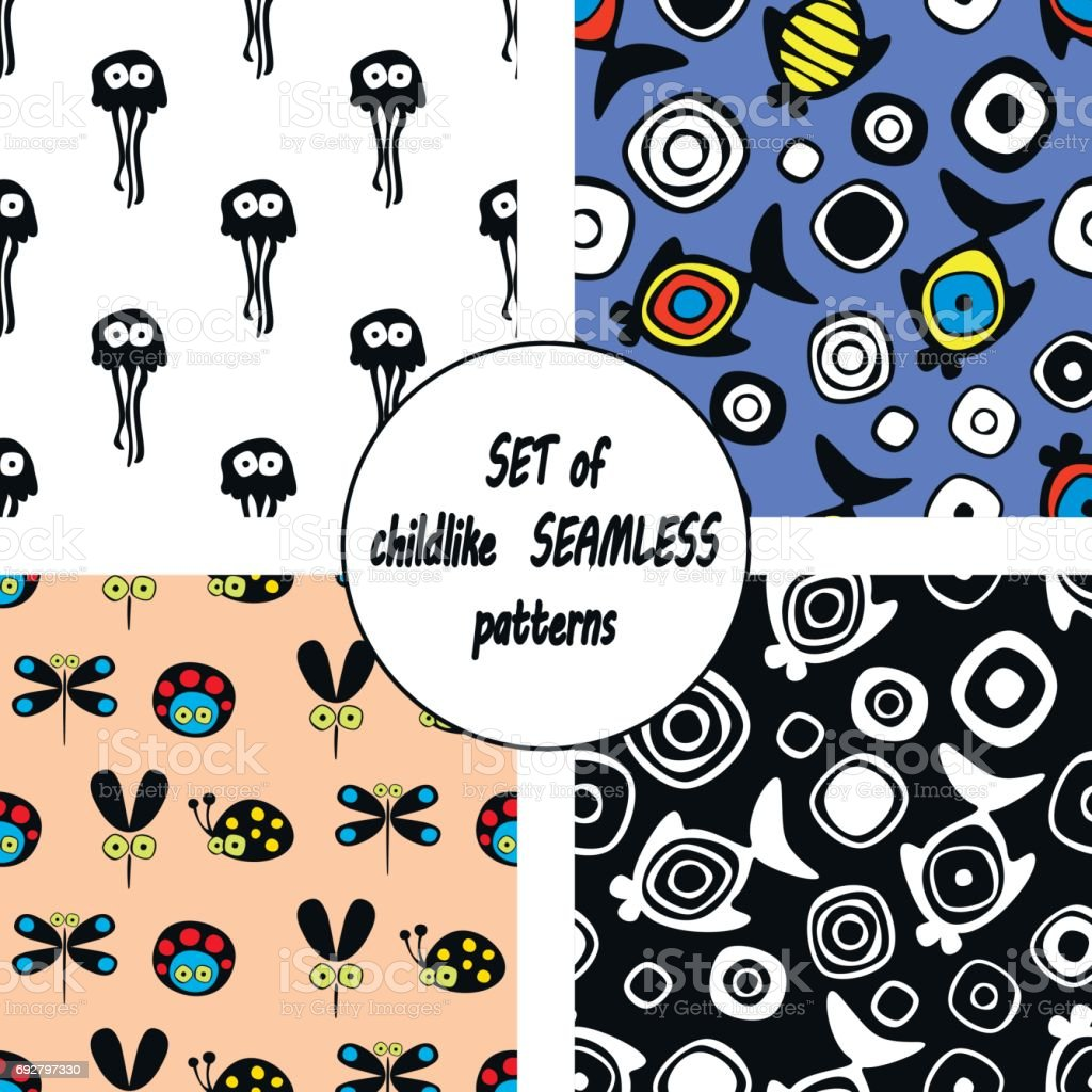 Set of vector seamless decorative pattern with hand drawn ladybug, mosquito, fish, starfish, octopus. Cute childlike backgrounds. Template for wrapping, fabric, cover. vector art illustration