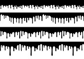 Set of Vector Seamless Drip Borders. Isolated Drop Shapes. Liquid Paint Texture.